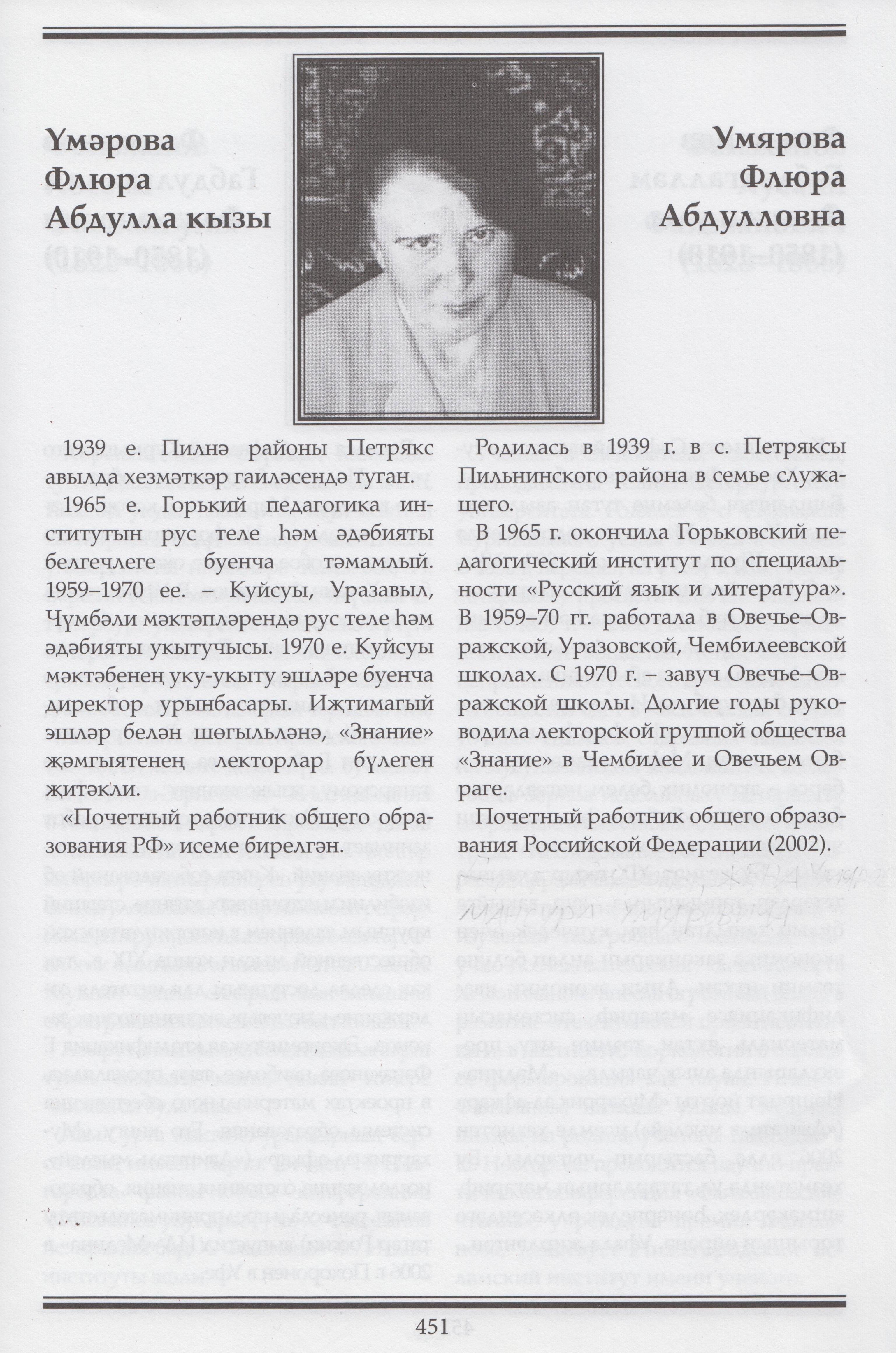 Умярова Флюра Абдулла кызы